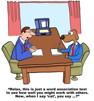 Cartoon of businessman dog taking personality test.